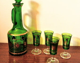 Vintage 70s Italian Emerald Green Glass Decanter and Cordial Set