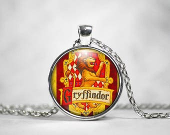 Gryffindor, 25mm Pendant, Harry Potter Jewelry, Harry Potter Necklace, Hogwarts Houses