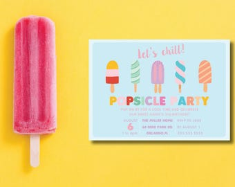 Popsicle Party DIY Printable Birthday Party Invitation