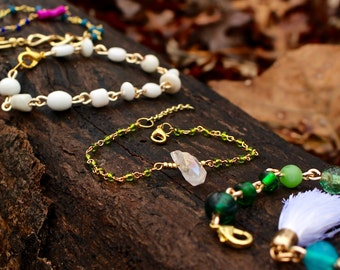 SALE // Green and Gold Crystal Bead Bracelet
