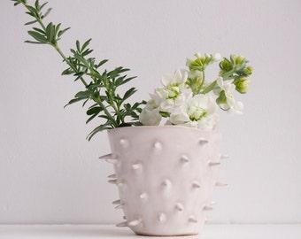 Handmade white spiky ceramic vase, white spiky pottery vase, white ceramic planter, white pottery planter, cactus planter, spiky vase, vase