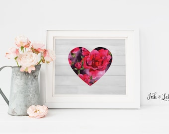 Cottage Chic Nursery Decor - Heart Printable -  Watercolor Roses - Valentine's Day Decor - Instant Download - 8x10 - Girl Nursery Decor