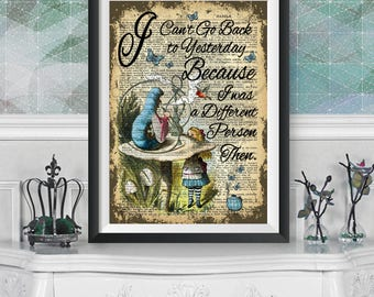 Alicia en el arte de la pared de las maravillas, Alicia y Absolem, Diccionario libro de arte cartel, cita de Lewis Carroll, Ilustración Original