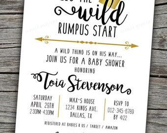 Wild Things Are Invite/ Baby Shower Invitation/ Wild Things Invitation/ Max Baby Shower/ Where the Wild Things Are Baby Shower