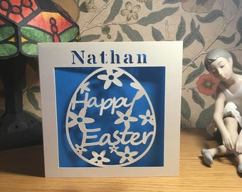 Personalised - Easter Card - Papercut - Happy Easter Card - Egg Card - Personalized