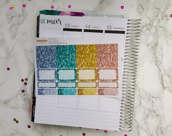 Planner Girl Kit Glitter Add-On / Erin Condren vertical / Happy Planner / glitter stickers / planner stickers / kit add-on / glitter boxes
