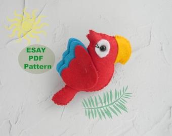 PDF Pattern easy felt parrot pattern Sewing PDF Pattern Felt Bird Plush Bird Felt Macaw Jungle Nursery Decor baby mobile Instant Download