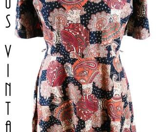 """Plus Size UK 18 Vintage 1960s Paisley Patchwork Cotton Dress Mad Men Boho Hilora EU 46 US 14 Bust 44"""" 112cm"""