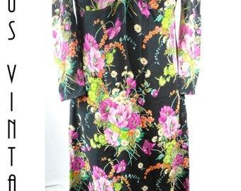 "Plus Size UK 16 Vintage 1970s Maxi Dress Chiffon Floral Wildflowers  Boho  Festival EU 44 US 12 Bust 42"" 107cm"