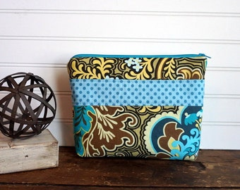 Large Make Up Bag - Gusset Bottom, Blue, Aqua, Yellow, Green, Paisley and Blue Dots