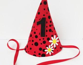 Ladybug first birthday hat, girl's first birthday hat, red and black polka dot birthday hat, felt Birthday hat