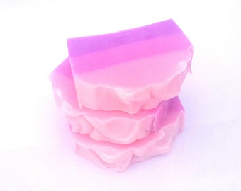 Cherry Blossom Handmade Soap, Pink Handmade Soap, Floral Soap, Pink and Purple Soap Artisan Soap, Cold Process Soap, Handmade Soap with Silk