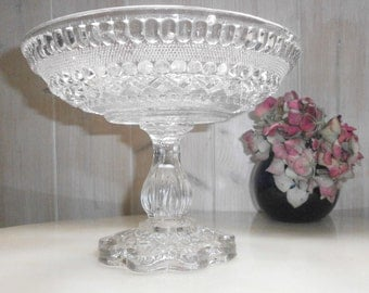 Vintage cake/Compote Dish Stand in Molded Glass - Vintage Compote on pedestal glass Portieux mold