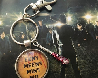 Lucille ~ Negan inspired keyring or bag charm. The Walking Dead (round)