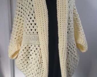 Crochet Granny Square Cocoon Sweater Cardigan Shrug in Cream, ideal for Cool Summer evenings and Fall, lovely Gift for Her, Women, Teens