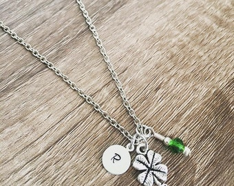 Shamrock four leaf clover necklace / green four leaf clover / lucky necklace / hand stamped initial charm / St. Patrick's Day / lucky charm