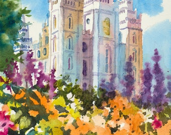 Salt Lake LDS Temple Painting, Salt Lake Temple Spring Painting, Utah LDS Temple Painting, LDS Art, Spring Watercolor Painting