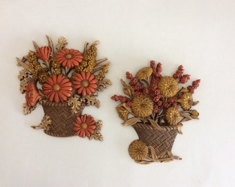 Vintage Wall Plaques--Burwood Orange and Yellow Flower Baskets