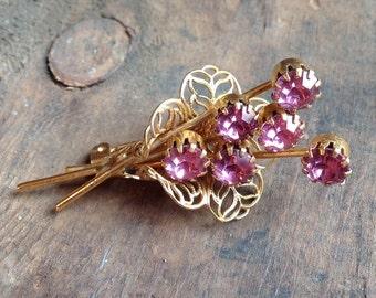 Pink Nosegay Flower Pin/Brooch (J17)