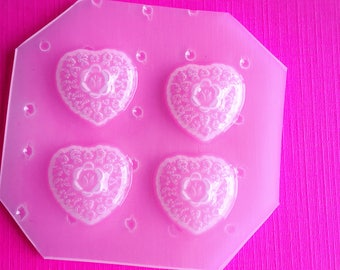 4pc Small Floral Heart Cabochon Flexible Plastic Mold For Resin Clay and More
