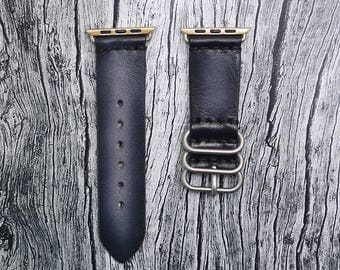 Black Apple watch strap leather // apple watch band 42mm leather - iwatch strap - iwatch band 38mm - lugs adapter accessories for women