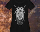 CICADA - Women's T-Shirt, Gift for Insect Lovers, 100% Cotton, Black and White, Eco-Friendly Water-Based Ink, Made in USA
