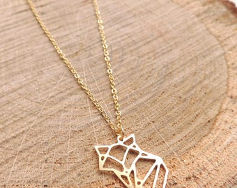 Fox Necklace, origami, baby fox, gold, geometric, animal, love, romantic