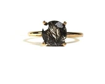 14k Quartz Solitaire; gold engagement ring; Tourmilated quartz 14k gold wedding