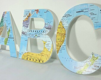 Wall Letters, Map Wall Decor, Hanging Wall Letters, Map Letters, Wall Decor, Wanderlust Nursery Letter, 15cm, Wanderlust Christmas