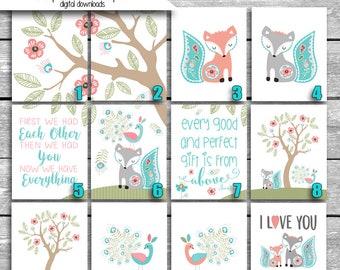 Digital Files Sent Via Email - Levtex Baby Fiona Fox Crib Bedding - Mix & Match - Printable Nursery Art jpgs