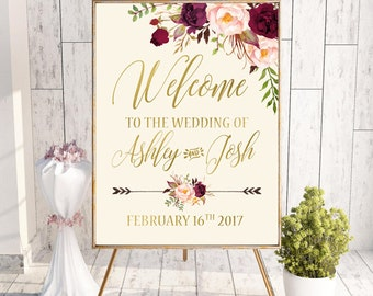 Boho Floral Welcome Wedding Sign Printable Wedding Welcome Sign Burgundy Gold Bridal Shower Welcome Signs Personalized Sign Digital or Print