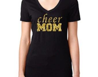 Cheer Mom Shirt, Cheer Shirt, Gold Glitter Cheer Shirt, Cheer Gear, Cheerleading Apparel