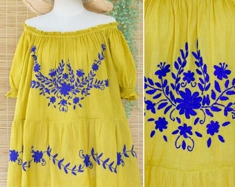M - XL Off Shoulder Bohemian Cotton Top with Hand Embroidered Floral in Yellow, Loose fit Casual Summer Top