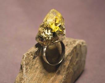 9 / Lichen, Moss, Forest, Specimen, Quartz, Crystal, Eco, Nature, Terrainium, Resin, Ring