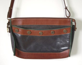 80s/90s Brahmin Bag - Grey Green and Brown Cowhide Leather Shoulder Bag - Colorful Leather Purse with Unique Buttons