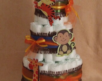 3 Tier Diaper Cake Fisher Price Rainforest Safari Baby Shower Centerpiece