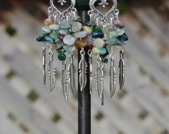 Indian Agate Chandelier Earrings ~ One of a Kind ~ Fountain Earrings ~ Semi Precious Stones ~ Tibetan Silver Feathers ~ Earth Tones