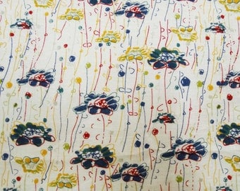 "Floral Print Fabric, White fabric, Home Decor Cotton fabric, Sewing Craft, Designer Fabric, 43"" Inch Quilting Fabric By The Yard ZBC6833A"