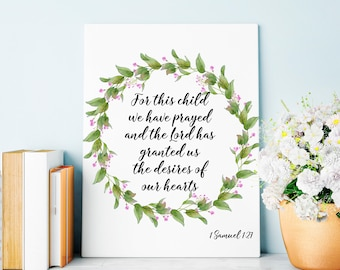 Nursery Decor, For This Child We Have Prayed, Bible Verse Decor, Baby Shower
