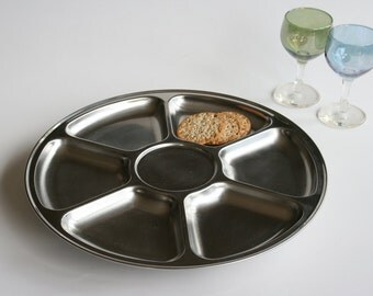 "Stainless steel ""lazy susan"" - revolving dip plate - hors d'oeuvres platter - snacks tray"