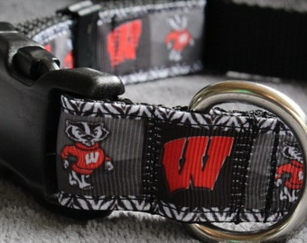 "University of Wisconsin Dog Collar - Side Release Buckle (1"" Width) - Martingale Option Available"