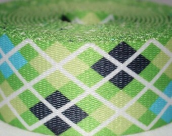 """Green or Pink Argyle Print  1.5"""" Collar with Side Release Buckle (Martingale Option Available)"""