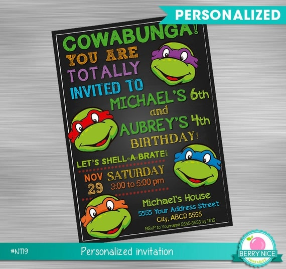 Ninja turtles double birthday invitation turtles shared birthday il570xn filmwisefo