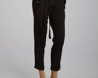 Scotland, Low Rise, Ankle Length, Linen Pants - FA12-CKP1