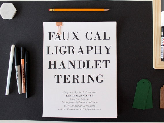 Faux calligraphy handlettering worksheet set