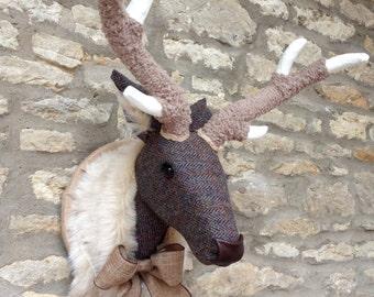 Handmade Harris tweed deer head faux taxidermy Harris tweed herringbone wall mounted animal stag head trophy