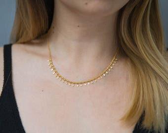 Gold Fringe Necklace / Boho Necklace / Gypsy Necklace / Statement Layering Necklace
