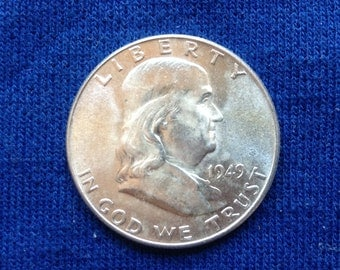 1949 P Franklin Silver Half Dollar, Old US Silver Coins, Rare American Coin for Collecting, Brilliant Luster, 90 Percent Silver