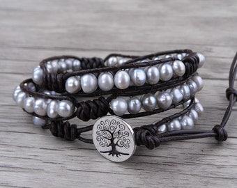Real pearl wrap bracelet Grey freshwater pearl bracelet boho wrap bracelet pearl leather bracelet bead wrap bracelet Stack bracelet SL-0492