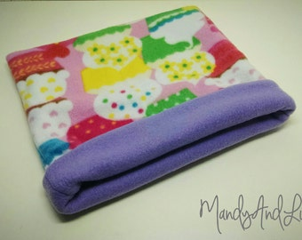 Fleece Snuggle Bag/Cuddle Sack - Purple/Cupcakes - For Hedgehog / Rat / Guinea Pig / Chinchilla / Ferret / Sugar Glider / Small Animal
